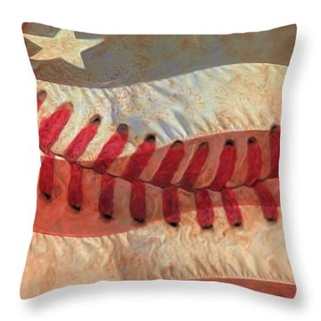Baseball Is Sewn Into The Fabric Throw Pillow