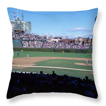 Baseball Match In Progress, Wrigley Throw Pillow by Panoramic Images