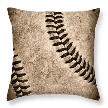 Baseball Old And Worn Throw Pillow