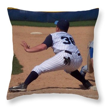 Baseball Pick Off Attempt Throw Pillow by Thomas Woolworth
