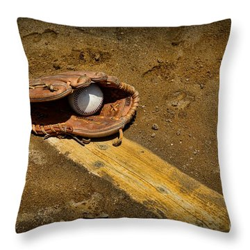 Baseball Pitchers Mound Throw Pillow by Paul Ward