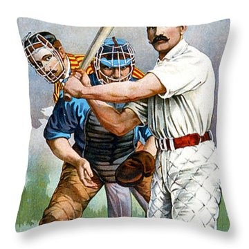 Baseball Player At Bat Throw Pillow by Unknown