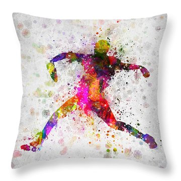 Baseball Player - Pitcher Throw Pillow by Aged Pixel