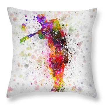 Baseball Player - Taking A Swing Throw Pillow by Aged Pixel