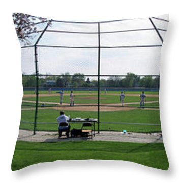 Baseball Playing Hard 3 Panel Composite 01 Throw Pillow by Thomas Woolworth