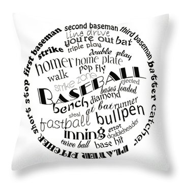 Baseball Terms Typography Black And White Throw Pillow by Andee Design