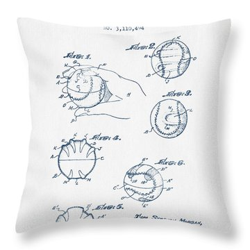 Baseball Training Device Patent Drawing From 1963 - Blue Ink Throw Pillow