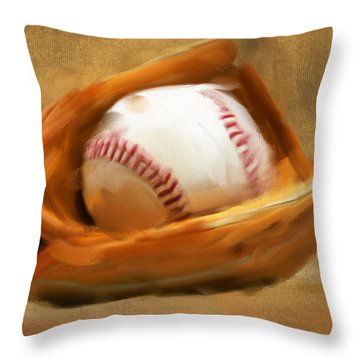 Baseball V Throw Pillow by Lourry Legarde