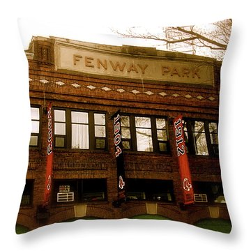 Baseballs Classic  V Bostons Fenway Park Throw Pillow by Iconic Images Art Gallery David Pucciarelli