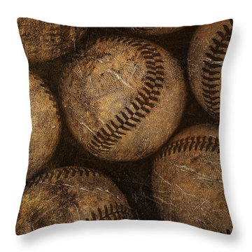 Baseballs Throw Pillow by Diane Diederich