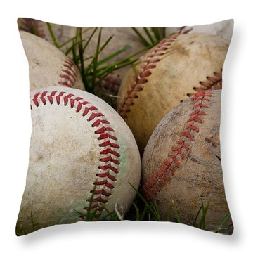 Baseballs On The Grass Throw Pillow by David Patterson