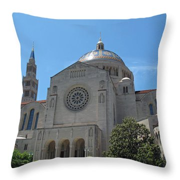 Basilica Of The National Shrine Throw Pillow by Barbara McDevitt