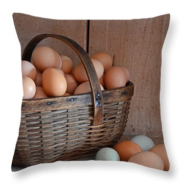 Basket Full Of Eggs Throw Pillow by Mary Carol Story