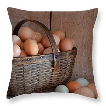 Basket Full Of Eggs Throw Pillow