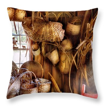 Basket Maker - I Like Weaving Throw Pillow by Mike Savad