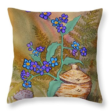 Basket Of Forgetmenots Throw Pillow