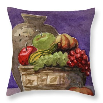 Basket Of Fruit Throw Pillow