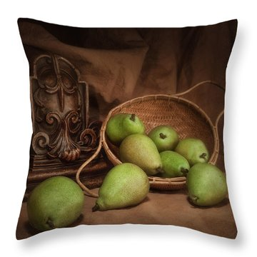 Basket Of Pears Still Life Throw Pillow by Tom Mc Nemar