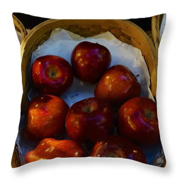 Basket Of Red Apples Throw Pillow
