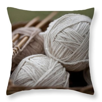 Basket Of Yarn Throw Pillow by Wilma  Birdwell