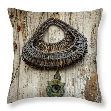 Basket On Weathered Door Throw Pillow by Dee Flouton