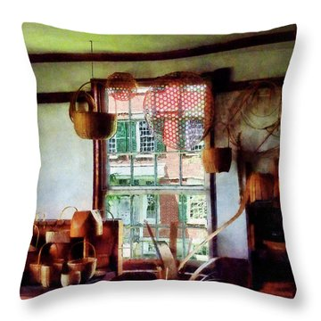 Throw Pillow featuring the photograph Basket Shop by Susan Savad