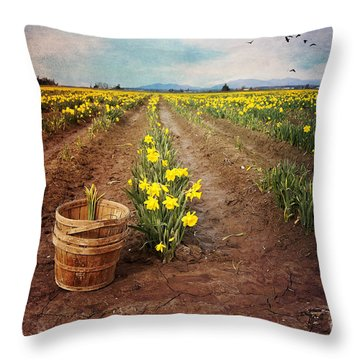 Throw Pillow featuring the photograph basket with Daffodils by Sylvia Cook