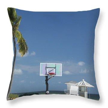 Basketball Goal On The Beach Throw Pillow