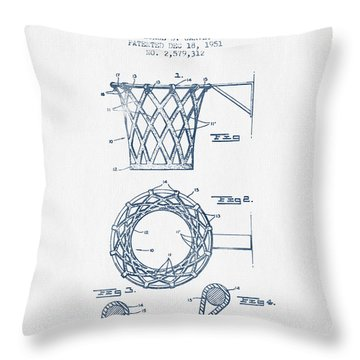 Basketball Goal Patent From 1951 - Blue Ink Throw Pillow by Aged Pixel