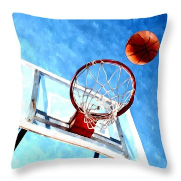 Basketball Hoop And Ball 1 Throw Pillow by Lanjee Chee