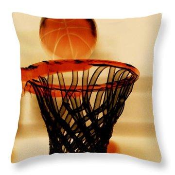 Basketball Hoop And Basketball Ball 1 Throw Pillow by Lanjee Chee