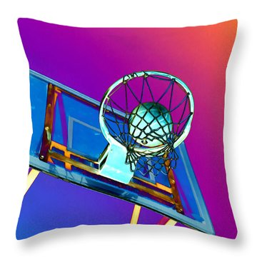 Basketball Hoop And Basketball Ball Throw Pillow by Lanjee Chee