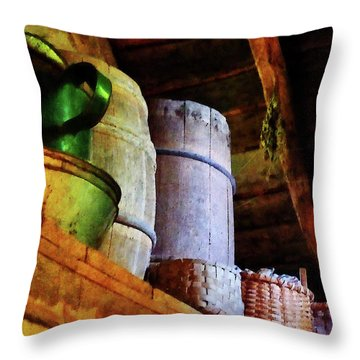 Throw Pillow featuring the photograph Baskets And Barrels In Attic by Susan Savad