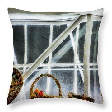 Baskets In The Window Throw Pillow