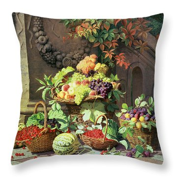 Baskets Of Summer Fruits Throw Pillow by William Hammer