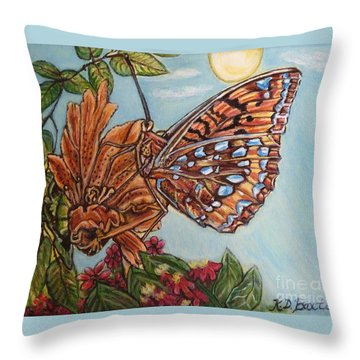 Basking In The Warmth Of The Sun In A Tropical Paradise Painting Throw Pillow