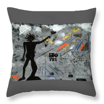 Basquiat Rest In Peace - Tribute Number 7 Throw Pillow by Scott Haley