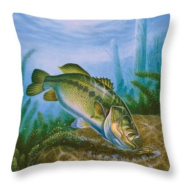 Bass And Crawdad Throw Pillow by Jon Q Wright