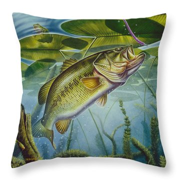 Bass And Frog Throw Pillow by Jon Q Wright