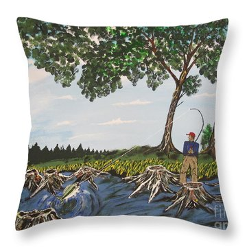 Bass Fishing In The Stumps Throw Pillow