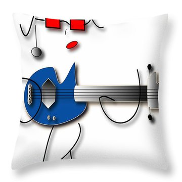 Throw Pillow featuring the digital art Bass Guitar Girl by Marvin Blaine