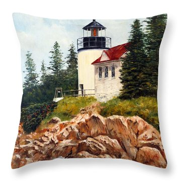 Throw Pillow featuring the painting Bass Harbor Head Light by Lee Piper
