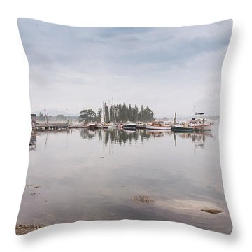 Bass Harbor In The Morning Fog Throw Pillow