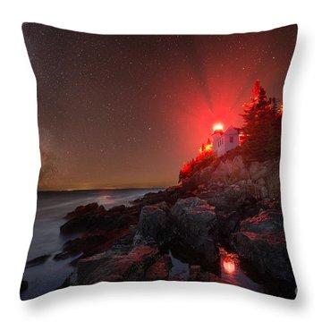 Bass Harbor Lighthouse Milky Way Throw Pillow