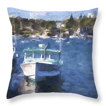 Bass Harbor Maine Painterly Effect Throw Pillow