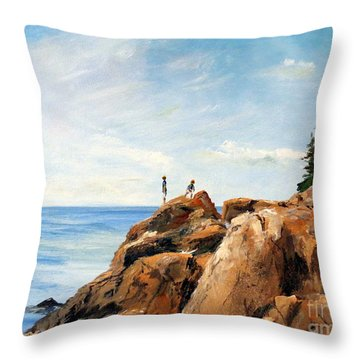 Bass Harbor Rocks Throw Pillow by Lee Piper