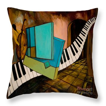 Bass Solo Throw Pillow by Larry Martin