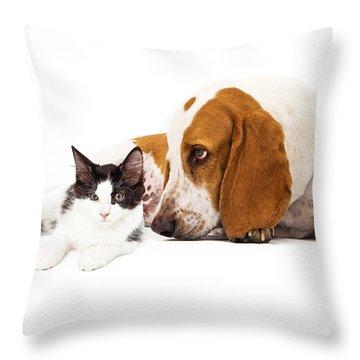 Basset Hound Dog And Kitten Throw Pillow by Susan Schmitz