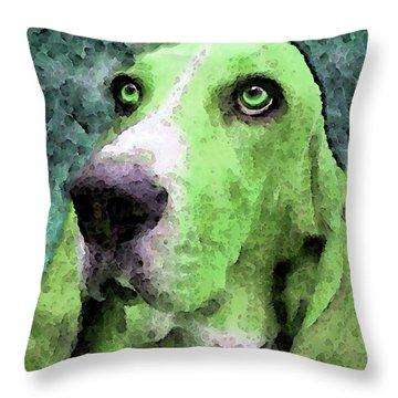 Basset Hound - Pop Art Green Throw Pillow by Sharon Cummings