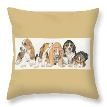 Basset Hound Puppies Throw Pillow by Barbara Keith